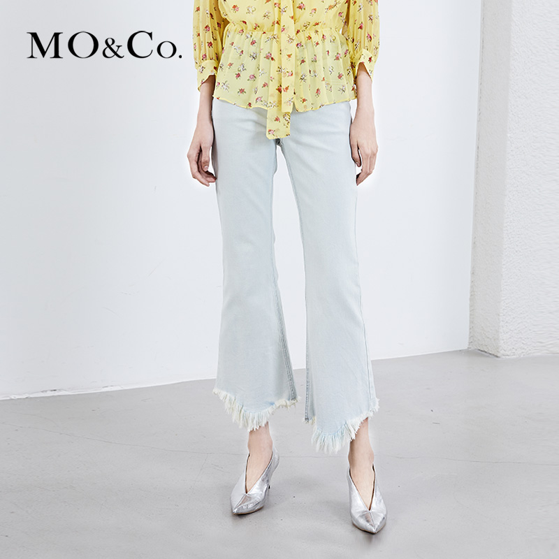 MOCO18年春季新品高腰口袋流苏洗水喇叭牛仔裤 MA181PAT420摩安珂