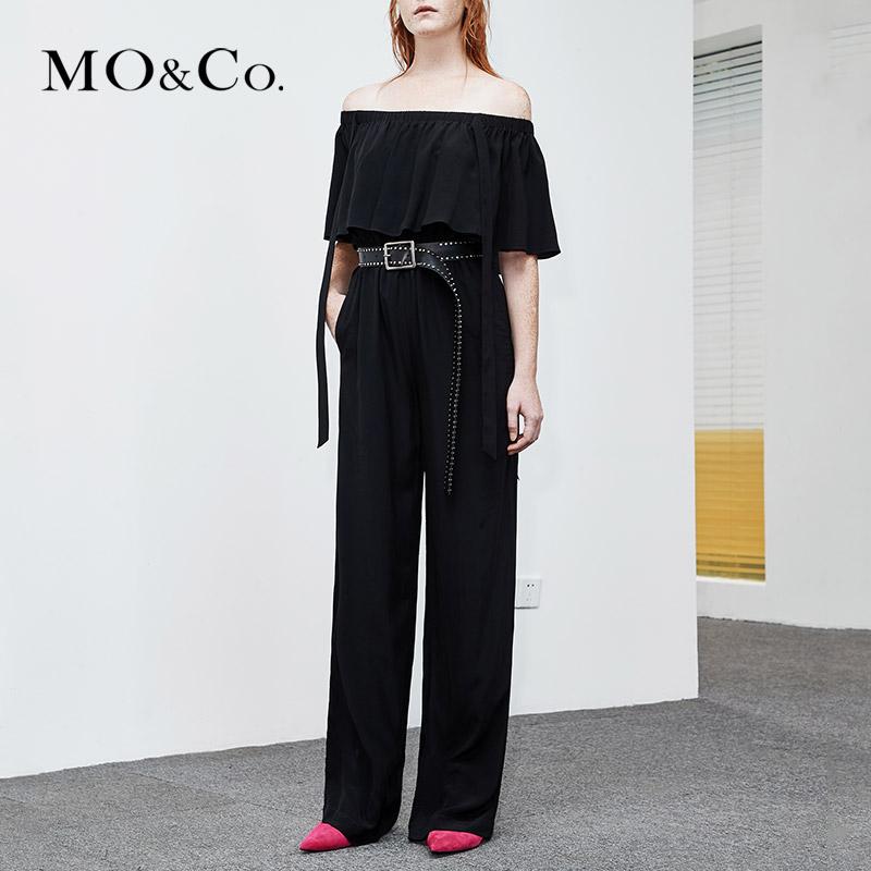 MOCO2018夏季新品一字領純色直筒連體褲MA182JPS107 摩安珂