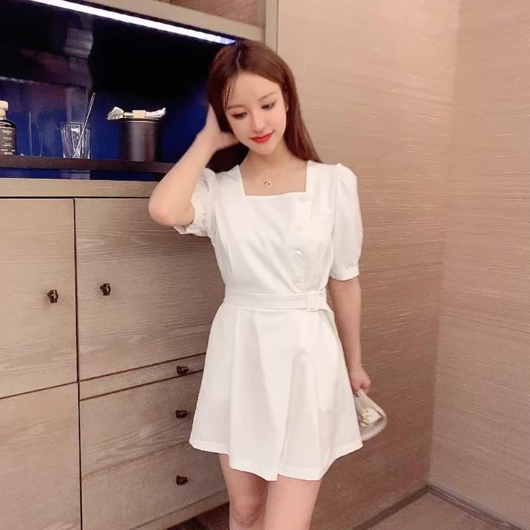 夏季新款2020韩版chic收腰修身连衣裤女百搭显瘦气质阔腿连体短裤