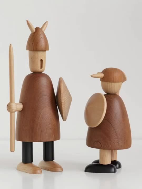 Nordic Denmark Log Carving Viking Decoration Solid Puppet Soft Decoration Wood Pirate Home Decoration