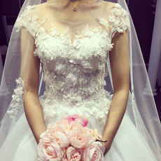 Korean version of the new long wedding dress 2017 wedding dress bride married wedding dresses pregnant women Qi lace princess