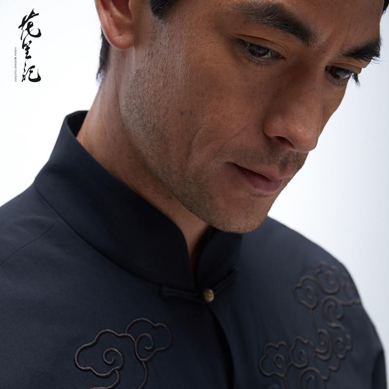 花笙记中国风潮牌祥云刺绣铜扣宽松版唐装中式立领盘扣黑色外套男