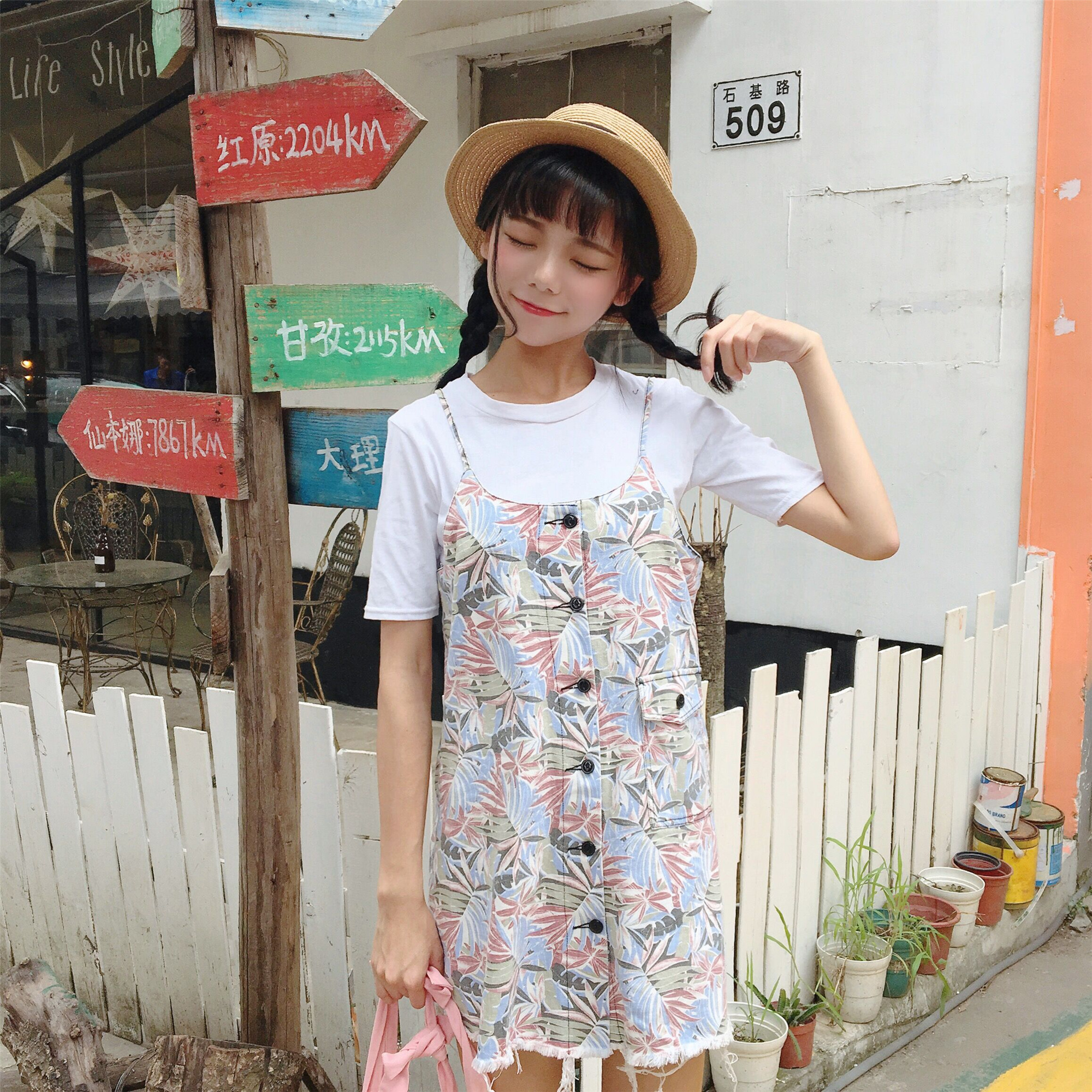 实拍   夏季新款韩版休闲背带时尚吊带连衣裙