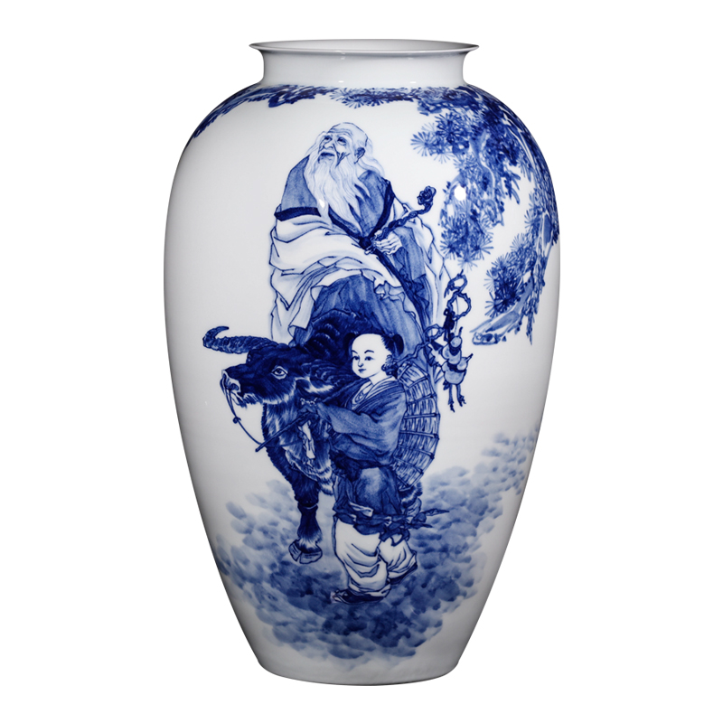 Jingdezhen ceramics famous hand - made furnishing articles dried flower arranging flowers sitting room of Chinese style household adornment blue and white porcelain vase