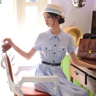ins复古女装茶歇裙港风衬衫领通勤短袖中长款连衣裙女2020新款夏