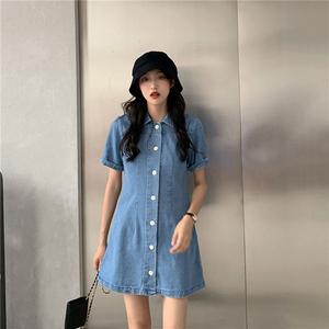 实拍~视频~5228#2020年夏季新款牛仔连衣裙复古洗水蓝...