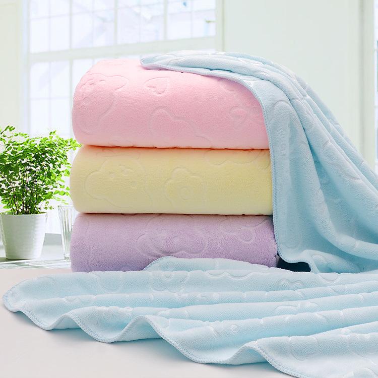 浴巾超細纖維壓花浴巾成人男女柔軟吸水大號毛巾裹巾