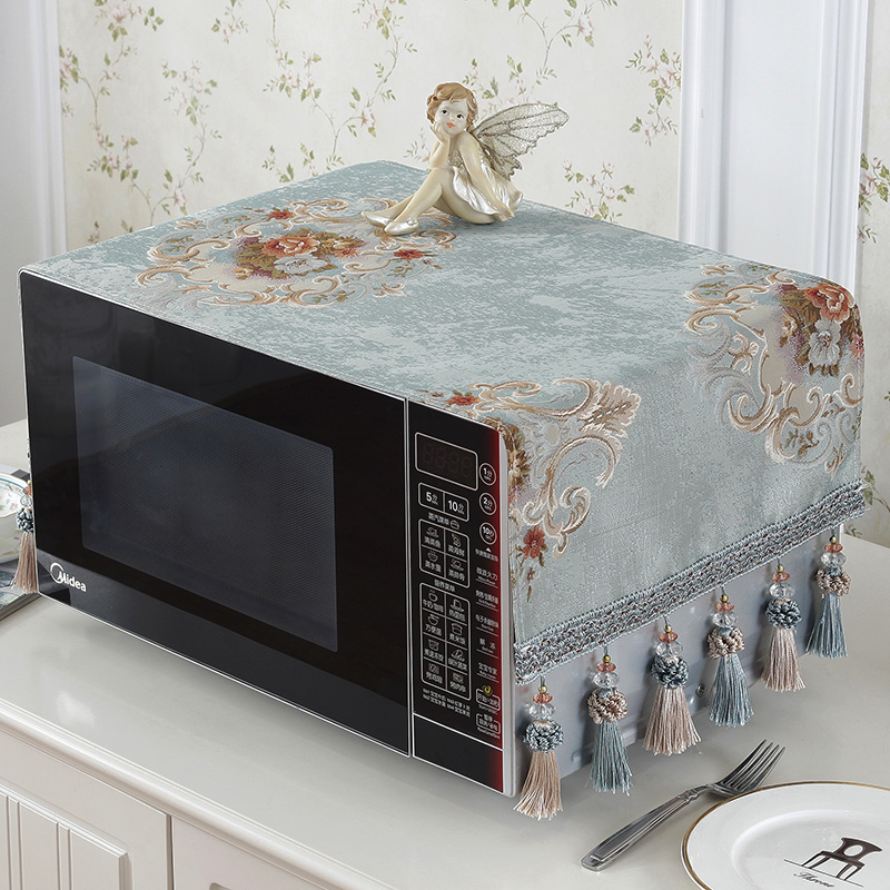 欧式微波炉台布盖布防尘防油罩盖布盖巾微波炉罩子烤炉帘烤箱套布