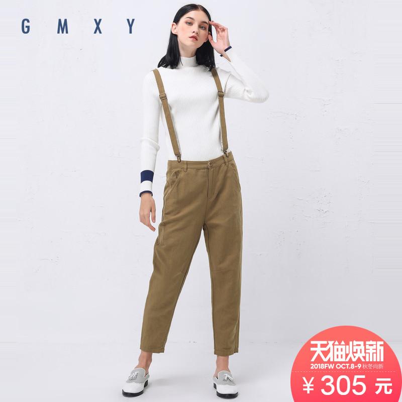 古木夕羊-GMXY2018秋女装新品锥形背带裤棉麻新款休闲长裤F375622