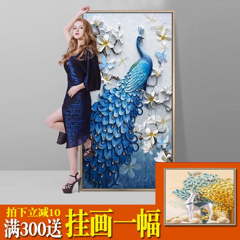 新中式入户玄关装饰画走廊过道招财风水竖版现代简约单幅挂画孔雀