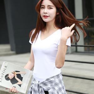 2018短袖T恤女夏装新款韩版宽松百搭学生白色V领纯棉纯色打底衫