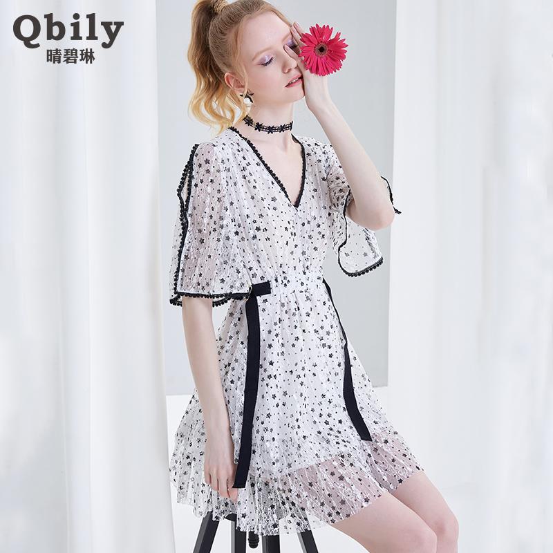 晴碧琳2018夏装新款V领五分袖蕾丝裙 修身显瘦白色星星连衣裙短裙