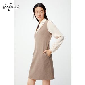 【商场同款】伊芙丽2020新款冬装韩版显瘦假两件连衣裙1BA193861