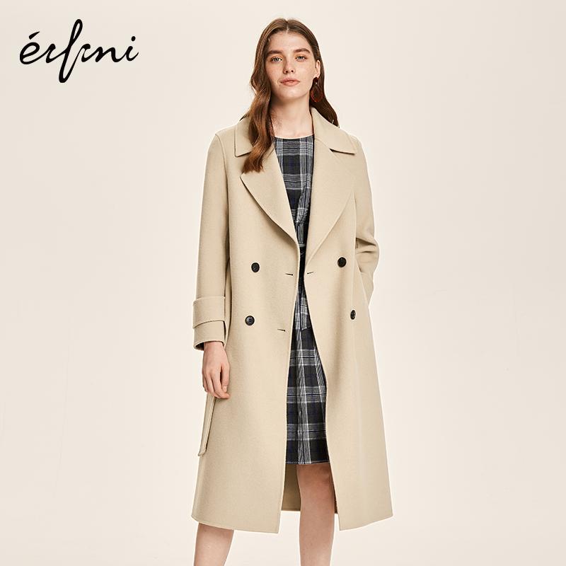 100%纯羊毛伊芙丽2018秋装新款复古长款过膝毛呢外套双面呢大衣女
