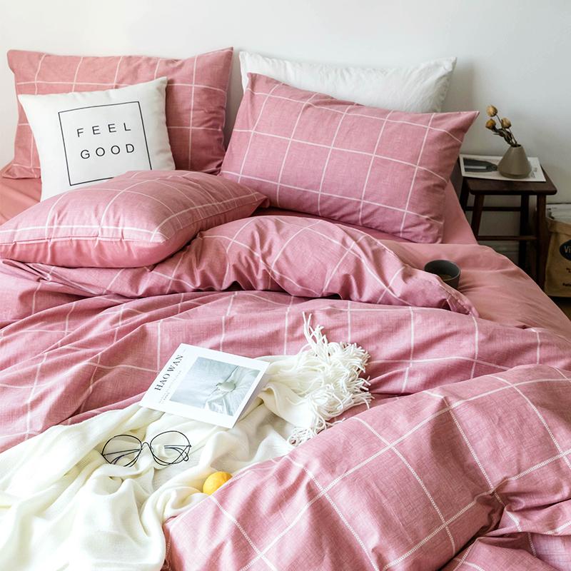 北欧四件套全棉纯棉简约学生宿舍床单人床上三件套1.2米被套被罩