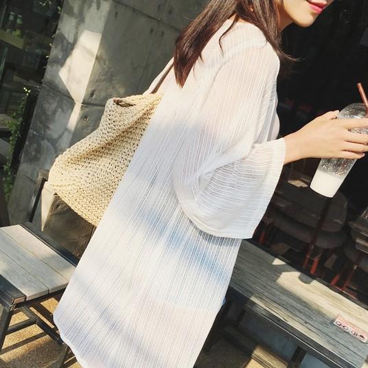 2017防晒衣超薄透视雪纺网纱开衫空调衫中长款披肩
