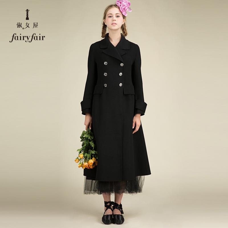 淑女屋黑色毛呢外套冬装女装韩版宽松中长款显瘦毛呢大衣