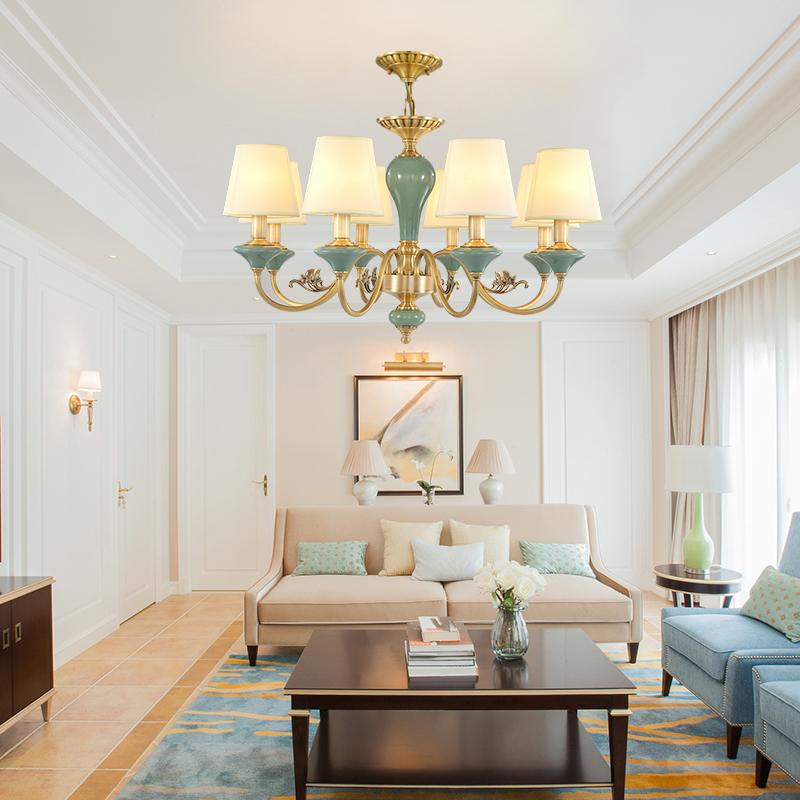 欧塞洛斯 客厅灯美式吊灯全铜陶瓷灯温馨简约现代餐厅吊灯Y115