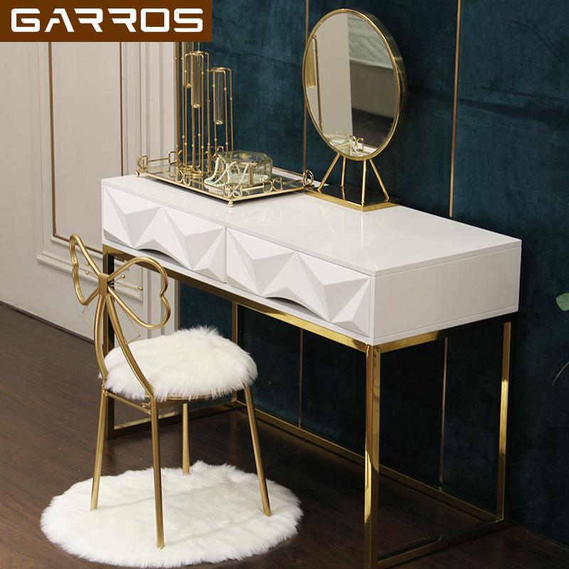 北欧轻奢现代简约不锈钢梳妆台网红小户型卧室迷你化妆桌白色烤漆