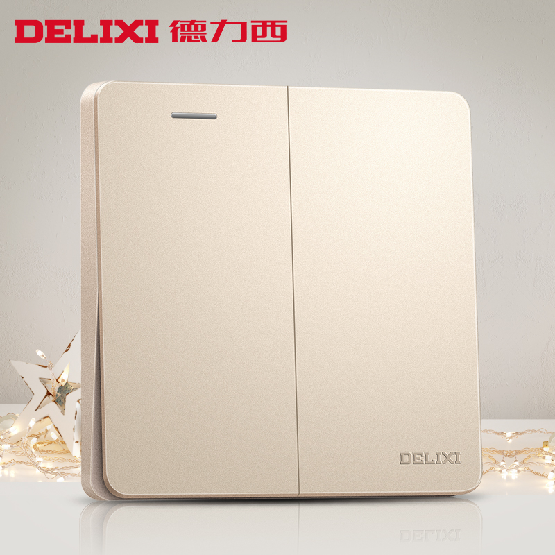 Delixi switch socket champagne gold flat plate two single control switch 86 household power supply wall panel