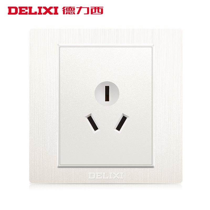 德力西开关插座雅白色空调热水器插金色三孔16A墙壁开关插座面板