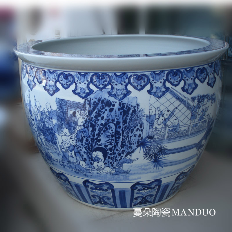 Elaborate art big aquarium fish tank VAT blue tong qu characters of jingdezhen VAT aquarium tank