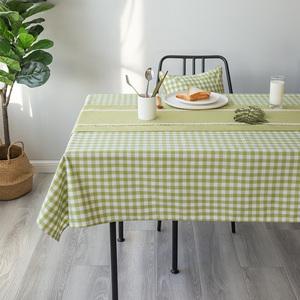 桌布布艺防水长方形餐桌布绿色格子田园小清新简约现代正方小桌布
