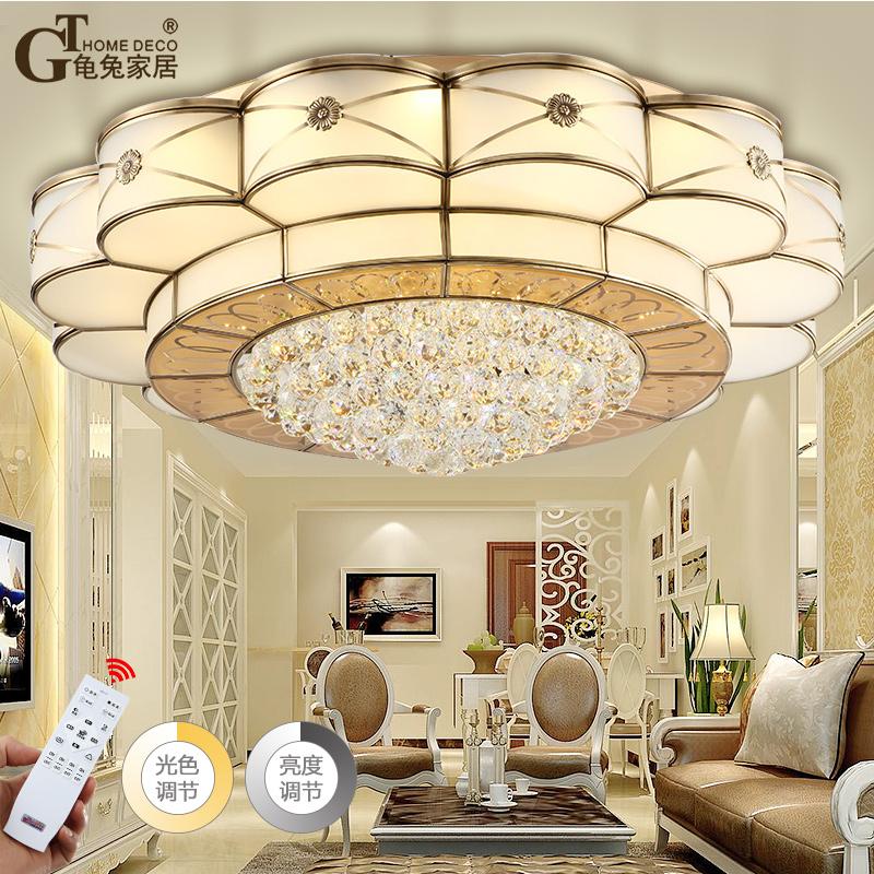 龟兔欧式全铜吸顶灯圆形客厅水晶灯简欧餐厅铜灯简约大气卧室灯具