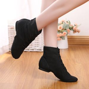 高帮爵士舞鞋男女现代民族舞蹈鞋芭蕾软底鞋帆布瑜伽练功鞋成人靴