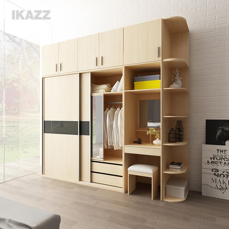 现代简约整体移门 推拉门衣柜 衣橱板式趟门 收纳衣帽间2门大衣柜