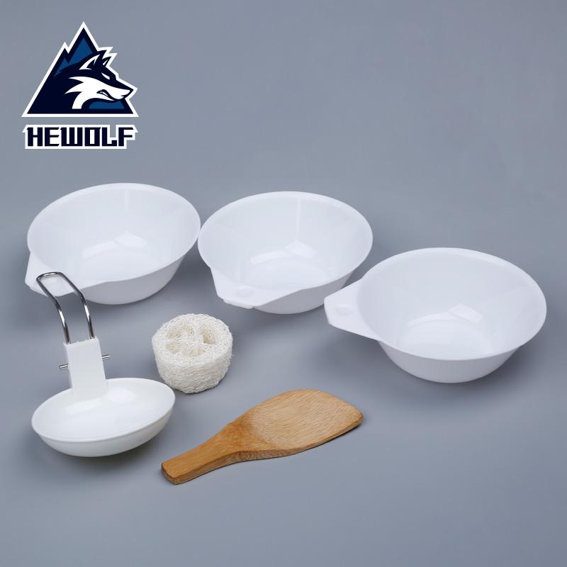 公狼户外餐具6件套 套锅餐具 野餐野炊用具1807
