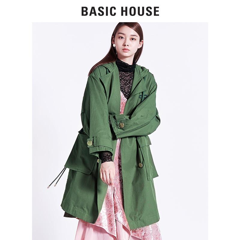 Basic House-百家好秋冬女装外套连帽防风长袖中长款大衣HRJP621B