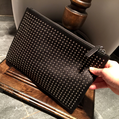1518 nails! Men's leather soft leather trend handbags rivets the first layer of leather thin section large capacity clutch