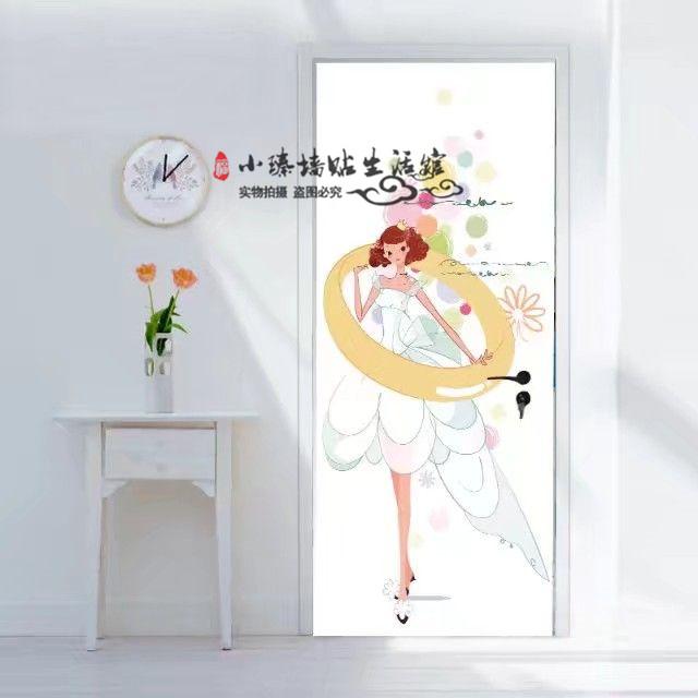 玻璃旧衣橱 ins北欧简笔画门贴木门自粘创意玻璃旧卧室厨房防水 阿里巴巴