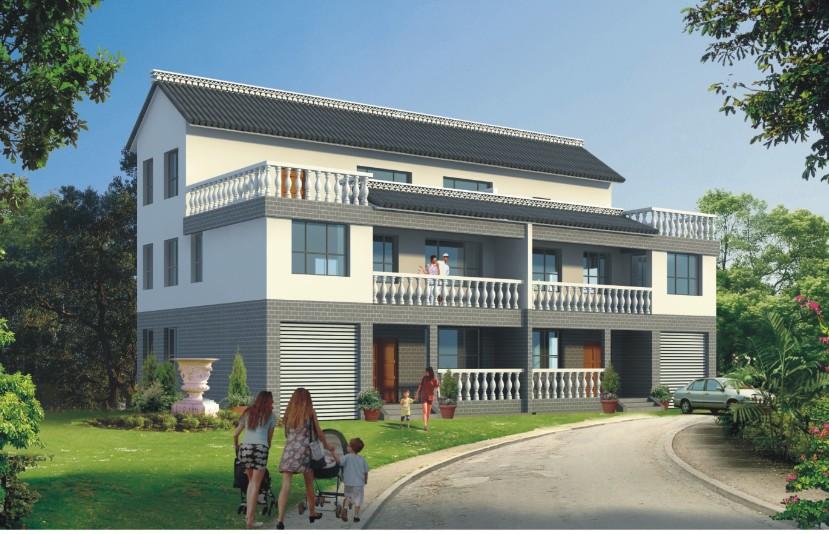 三层别墅房屋自建房屋设计农村别墅兄弟双拼设计图19图纸改造合同图片