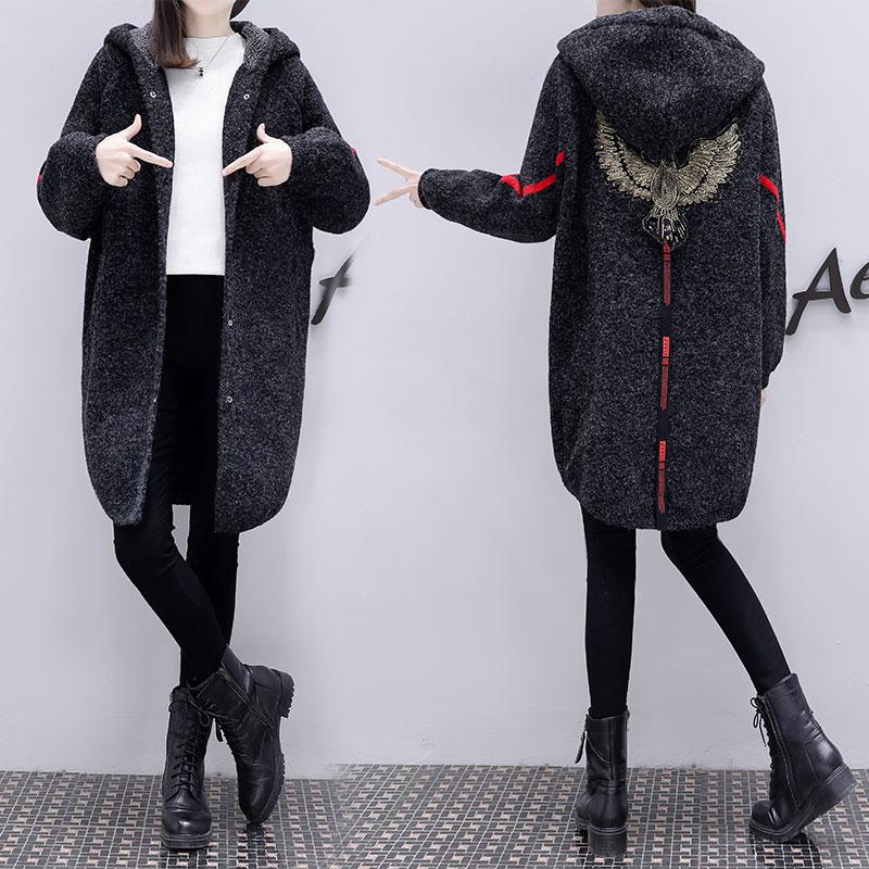 欧洲站2018秋装新款针织毛衣外套女中长款韩版刺绣针织开衫潮