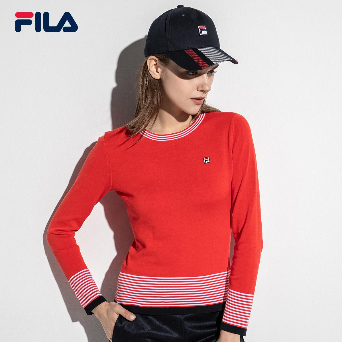 FILA斐乐女线衫2018新款舒适休闲运动针织衫编织衫女