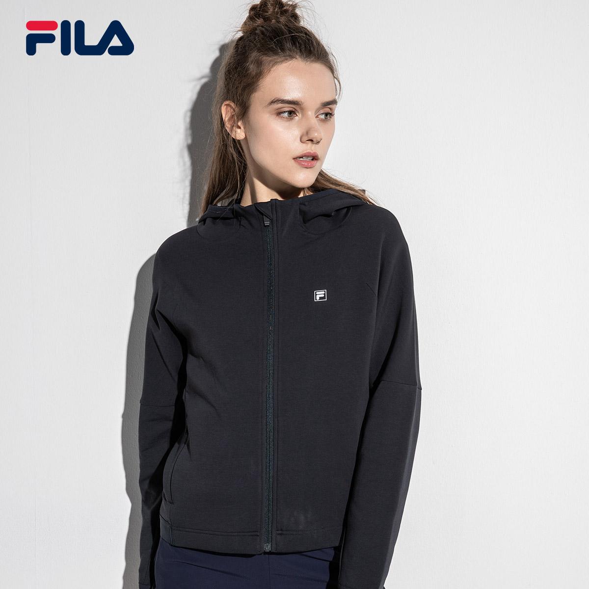 FILA斐乐外套女2018秋季新款运动休闲针织连帽外套健身训练外套女