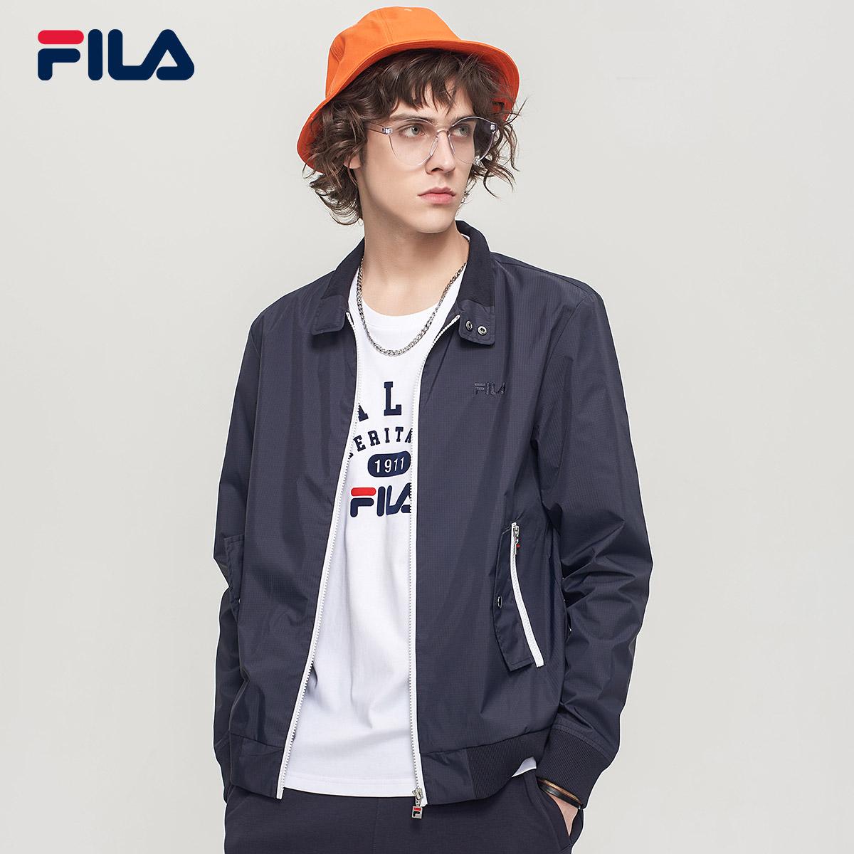 FILA斐乐外套夹克男2018秋季新品休闲透气潮流复古运动梭织上衣男