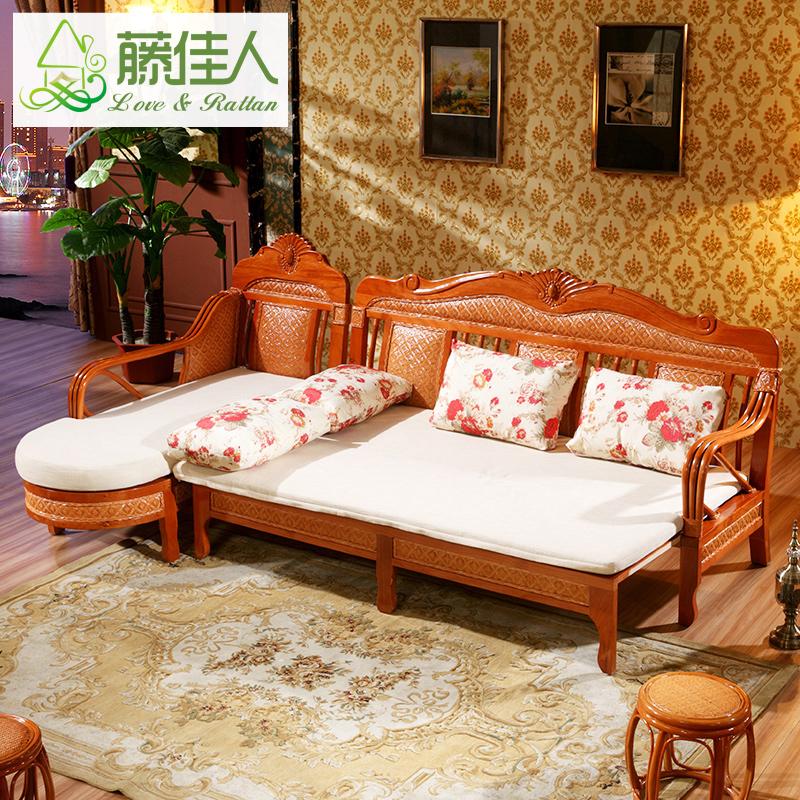 藤佳人沙发床可折叠双人沙发客厅多功能两用沙发小户型藤沙发TD
