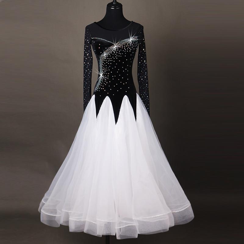 Ballroom Dance Dresses Women's Performance Chinlon Appliques / Splicing / Paillette Long Sleeve High Dress