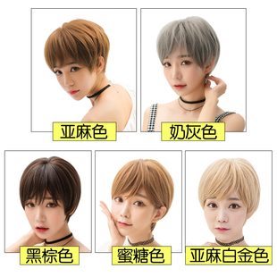 Female hair wig Bobo head wave head South Korea handsome short hair natural fluffy knitted large scalp