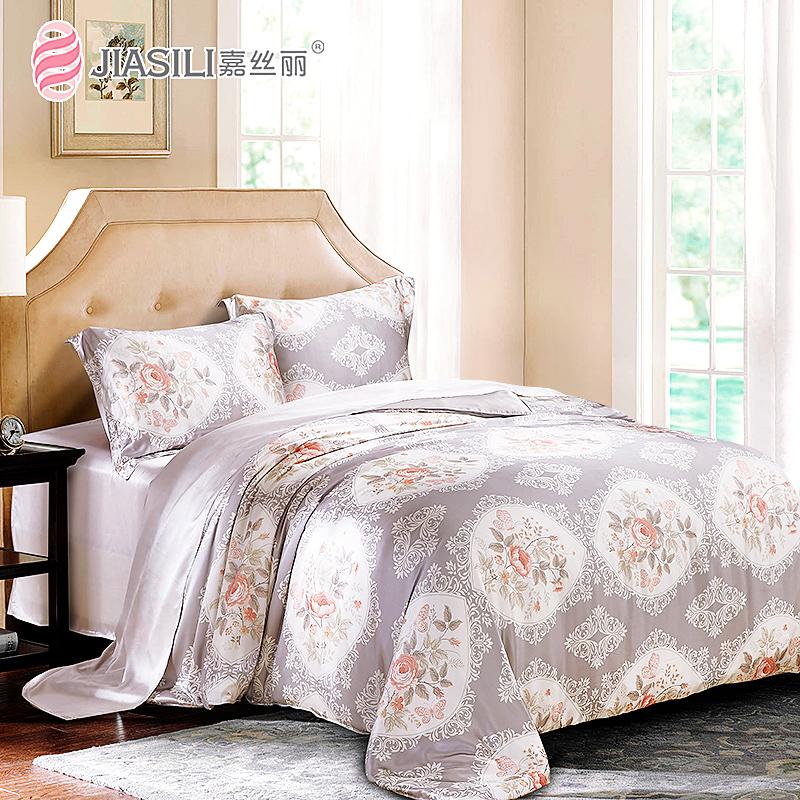 嘉丝丽原创新品丝绸床品真丝四件套重磅婚庆床上用品