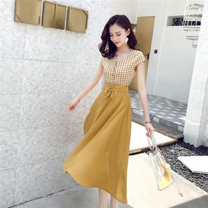 长裙女夏季高腰雪纺连衣裙两件套2018新款港味复古chic裙套装春