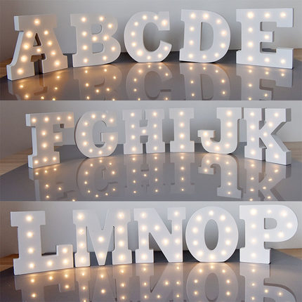 Wedding Items E29 15cm white wooden letter lamp wedding party window display light dessert table decoration
