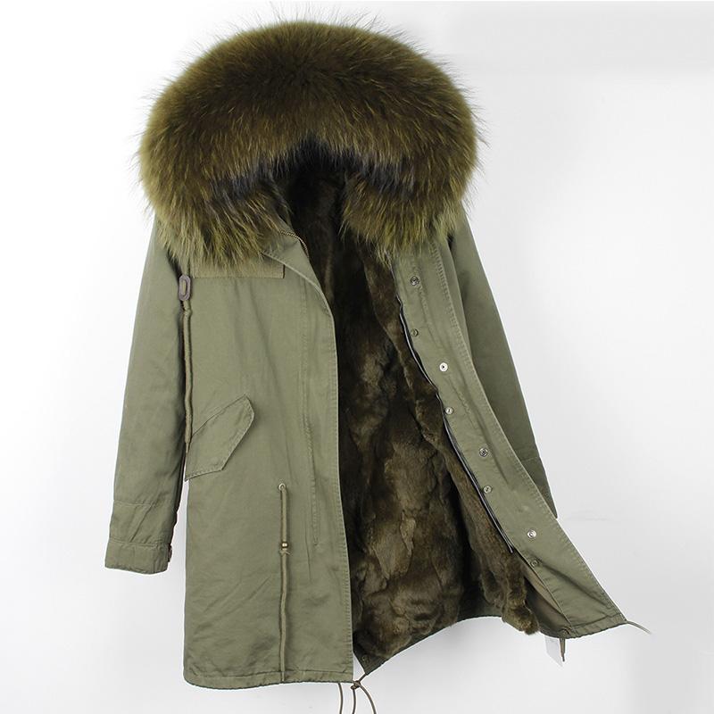 毛毛控 来自星星的你千颂伊同款獭兔毛内胆皮草外套中长款派克服