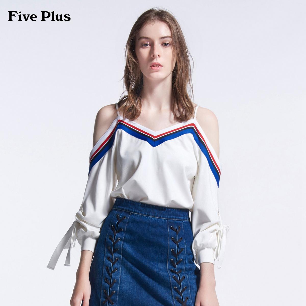 Five Plus2018新品女夏装露肩T恤女宽松吊带拼接条纹撞色系带V领