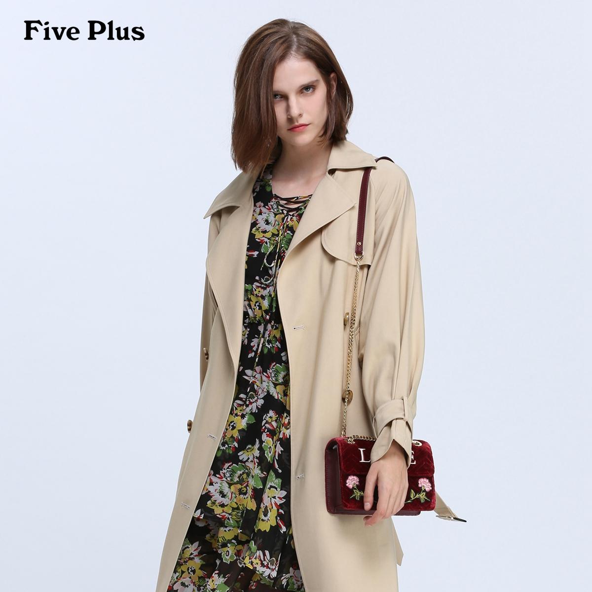 Five Plus2018新款女装长款风衣双排扣外套女宽松荷叶边长袖潮
