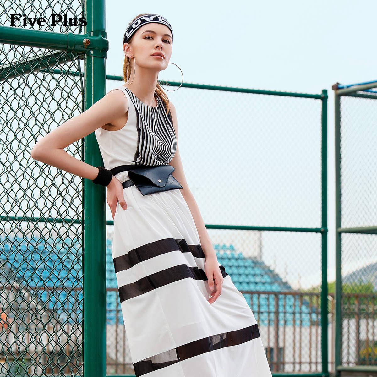 Five Plus2018新款女装无袖连衣裙高腰条纹撞色拼接收腰长裙潮