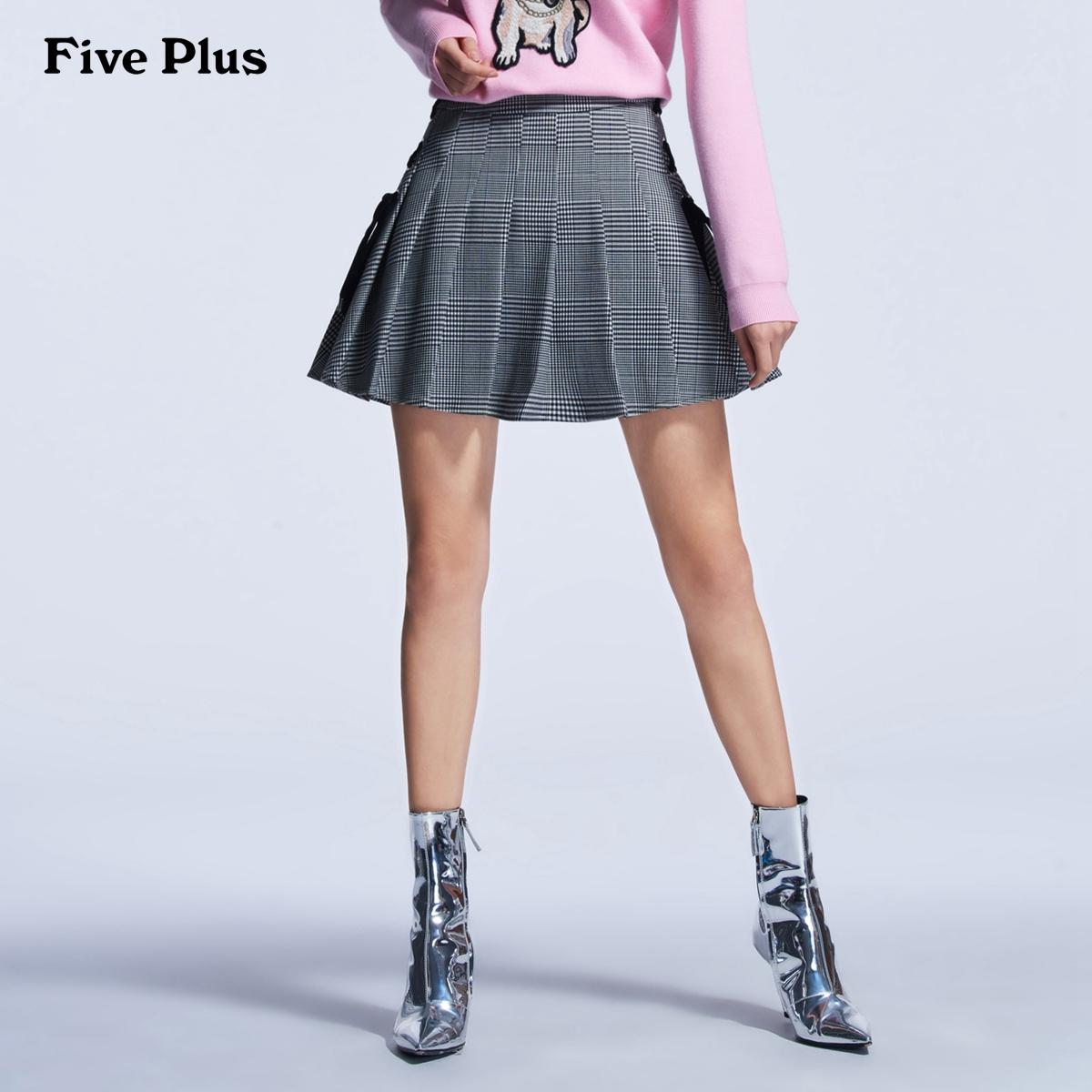 Five Plus2018新款女装格子系带高腰半身短裙百褶裙2GN1SK1A01
